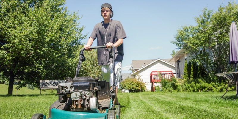 Person Mowing The Lawn