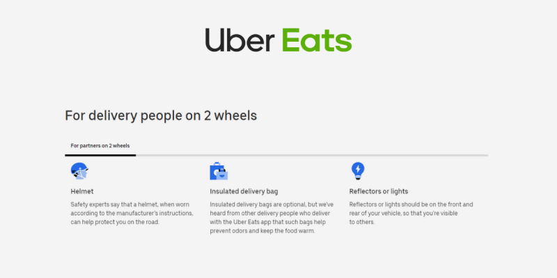 Recommended gear for Uber Eats delivery drivers