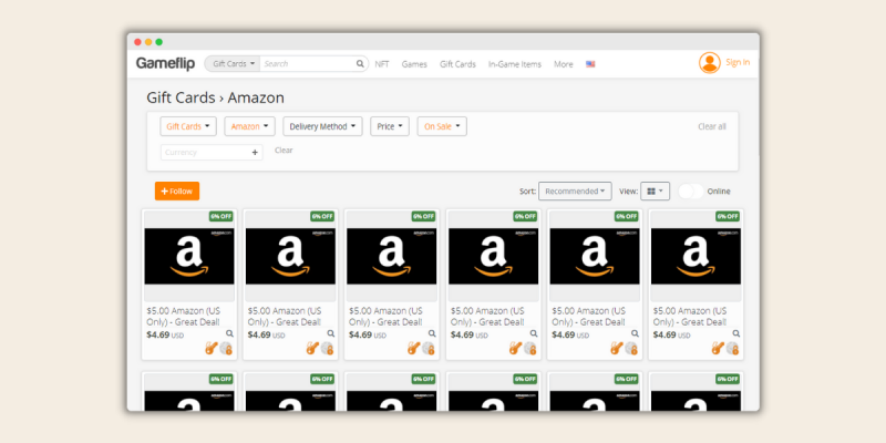 Gameflip Sell Amazon Gift Cards for Cash