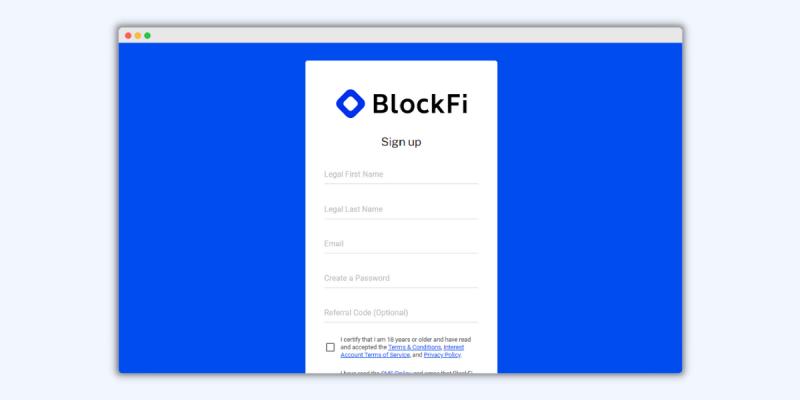 BlockFi Sign-Up
