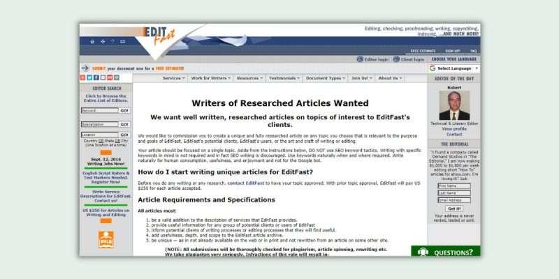 Editfast Proofreading Jobs