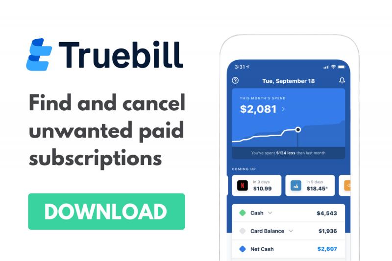 Truebill Ad Main Page