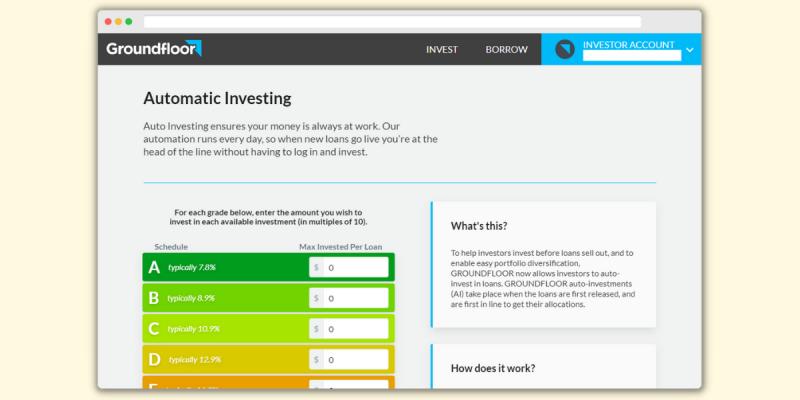 Groundfloor Automatic Investing