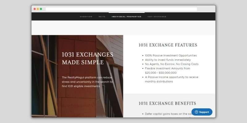 RealtyMogul Exchange Features